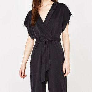Bershka Grey Jumpsuit w/belt and collar XS